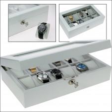 Cassetta per orologi in bianco lucido