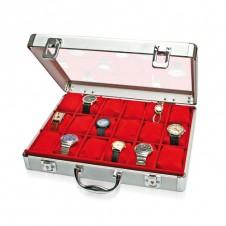 Valigetta in alluminio per 18 orologi foderata in velluto rosso