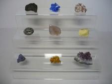 Espositore a scaletta in vetro acrilico per minerali, fossil, cristalli