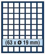 VASSOIO PER 63 MONETE con un diametro fino 19 mm - Caselle quadrate