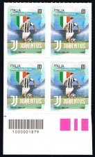 BRIEFMARKE ITALIEN FRANCOBOLLI ITALIA UNA QUARTINA CAMPIONI D'IT. JUVENTUS CODICE A BARRE 1879 - 2018 nuovo**