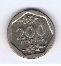 MÜNZEN MONETE SPAGNA ESPANA SPAIN SPANIEN MONETA 200 PESETAS 1986