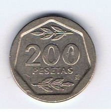 MÜNZEN MONETE SPAGNA ESPANA SPAIN SPANIEN MONETA 200 PESETAS 1987