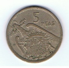 MÜNZEN MONETE SPAGNA ESPANA SPAIN SPANIEN MONETA 5 PESETAS 1957 (58)