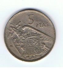 MÜNZEN MONETE SPAGNA ESPANA SPAIN SPANIEN MONETA 5 PESETAS 1957 (64)