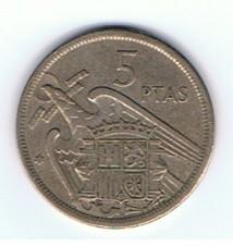 MÜNZEN MONETE SPAGNA ESPANA SPAIN SPANIEN MONETA 5 PESETAS 1957 (69)