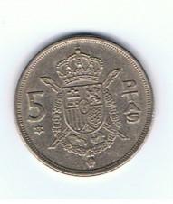 MÜNZEN MONETE SPAGNA ESPANA SPAIN SPANIEN MONETA 5 PESETAS 1975 (77)