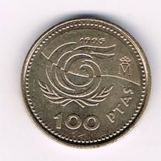 MÜNZEN MONETE SPAGNA ESPANA SPAIN SPANIEN MONETA 100 PESETAS 1999