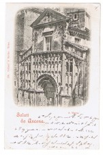 CARTOLINA SALUTI DA ANCONA VIAGGIATA 1899