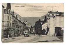 ANSICHTSKARTE MERAN HABSBURGERSTRASSE TRAMM MERANO ALTO ADIGE GELAUFEN 1910