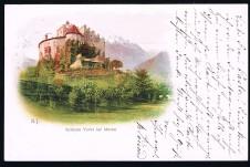 ANSICHTSKARTE MERAN SCHLOSS FORST MERANO GELAUFEN 1898