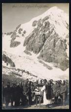 Ansichtskarte Cartolina Foto der Feldmesse im Ortlergebiet nahe der Königsspitze in Sulden Ortlerfront KuK WW1 WK1 1 Weltkrieg Prima guerra mondiale