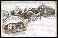 ANSICHTSKARTE SULDEN SOLDA GRUSS AUS ST. GERTRAUD VINSCHGAU VENOSTA SÜDTIROL ALTO ADIGE GELAUFEN 1896