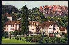 ANSICHTSKARTE RITTEN KLOBENSTEIN HOTEL PENSION ZUR POST SÜDTIROL GELAUFEN 1920
