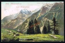ANSICHTSKARTE LAAS MARMORGEBIRGE LAASER SPITZE VINSCHGAU SÜDTIROL GELAUFEN 1913