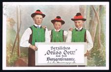 ANSICHTSKARTE HERZLICHES GRÜSS GOTT AUS DEM BURGGRAFENAMTE MERAN ALTO ADIGE GELAUFEN