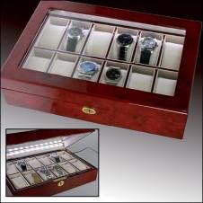 Cofanetto portaorologi con fascia luminosa per 12 orologi