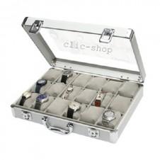 Valigetta in alluminio per 18 orologi foderata in velluto grigio