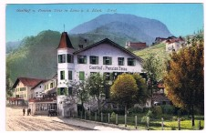 ANSICHTSKARTE LANA GASTHOF PENSION TEISS SÜDTIROL ALTO ADIGE GELAUFEN 1912