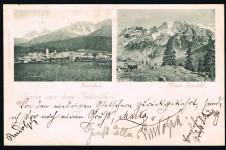 ANSICHTSKARTE INNICHEN GRUSS AUS DEM PUSTERTHAL SÜDTIROL ALTO ADIGE GELAUFEN 1897